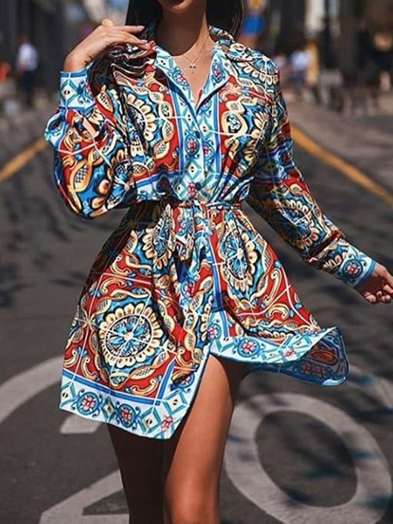 Ericdress Lapel Print Above Knee Regular Casual Dress