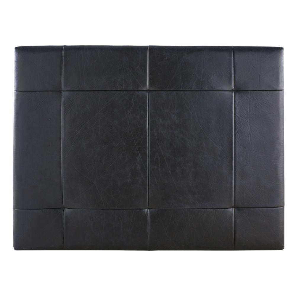 Bettkopfteil 160 aus abgestepptem Leder, schwarz Monile