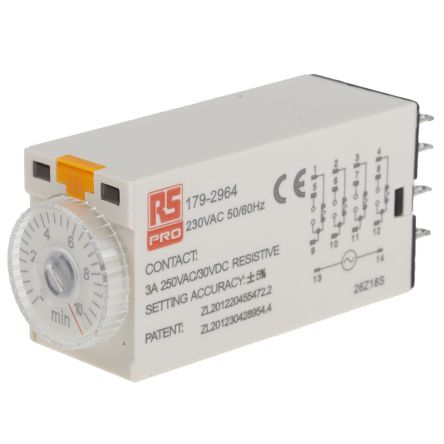 RS PRO 4PDT Time Delay Relay - 0.5 → 10 min, 4 Contacts, On-Delay, Plug In