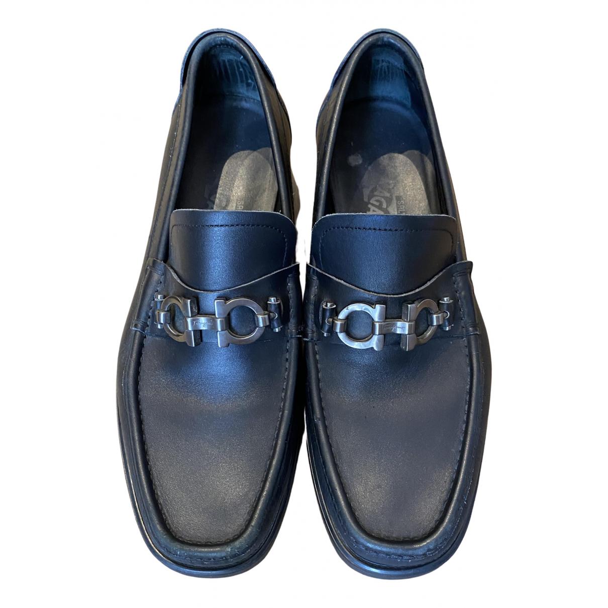 Salvatore Ferragamo \N Black Leather Flats for Men 6.5 US