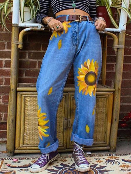 Yoins Blue Side Pockets Floral Print High-Waisted Denim Jeans