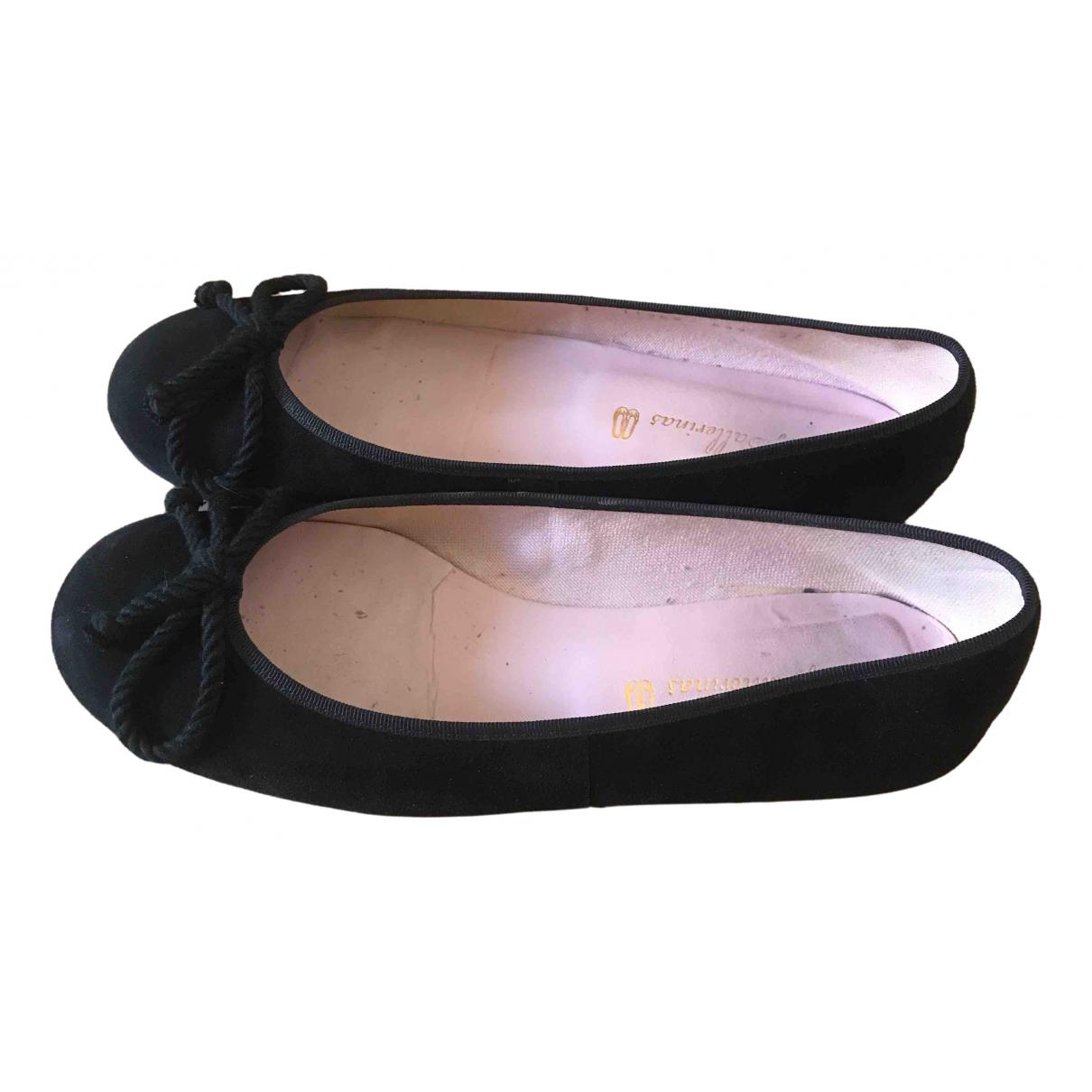 Pretty Ballerinas \N Ballerinas in  Schwarz Veloursleder