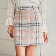 Tartan Tweed Bodycon Skirt