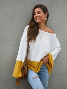 Contrast Panel Pointelle Knit Sweater