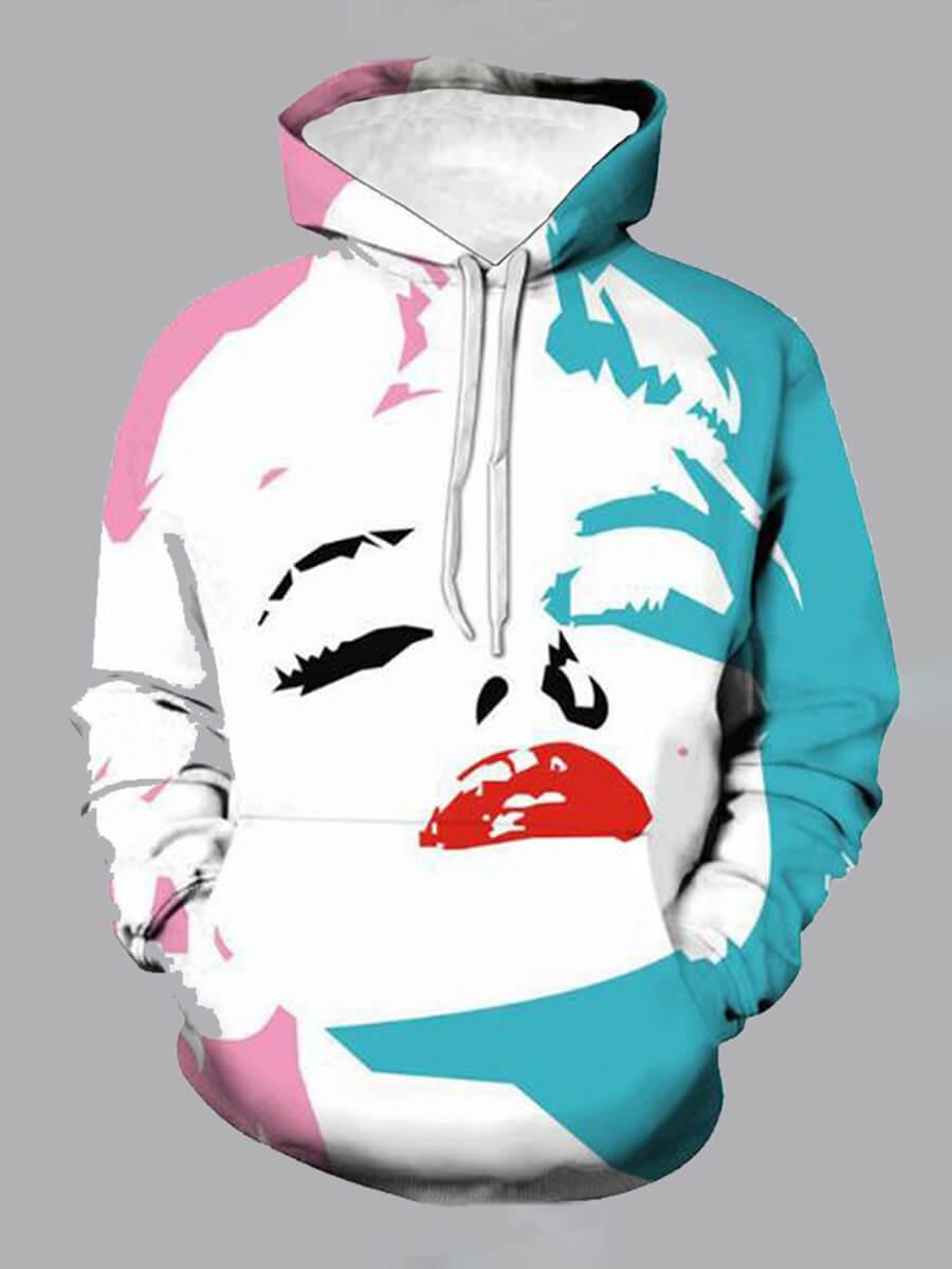LW Lovely Street Hooded Collar Print White Boy Hoodie