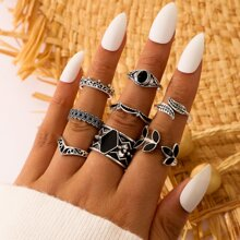 8pcs Gemstone Leaf Ring