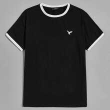 Ringer T-Shirt mit Adler Stickereien
