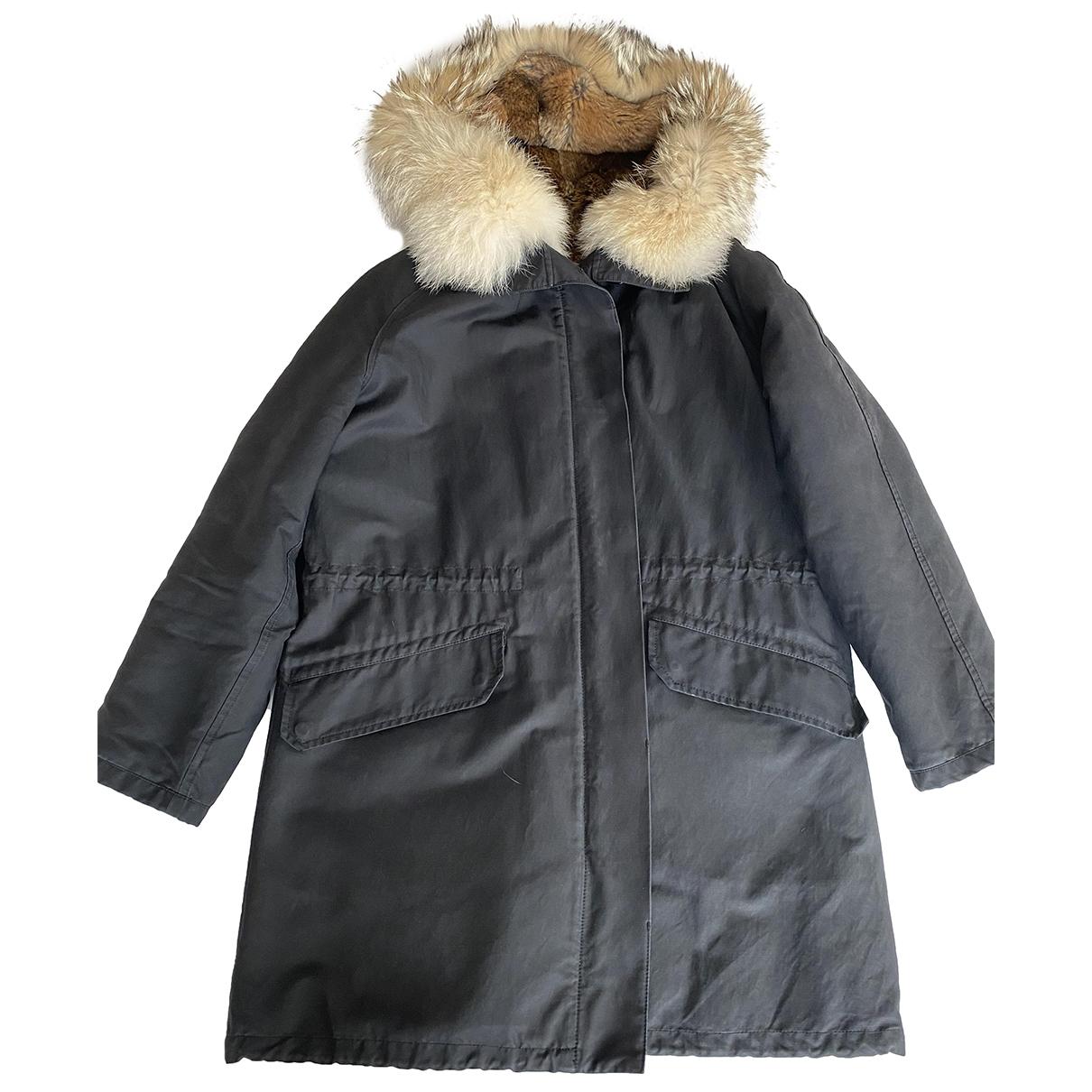 Yves Salomon \N Navy Rabbit coat for Women 38 FR