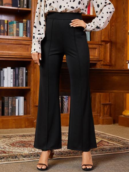 YOINS Black Zip Design Wide Leg High-Waisted Pants