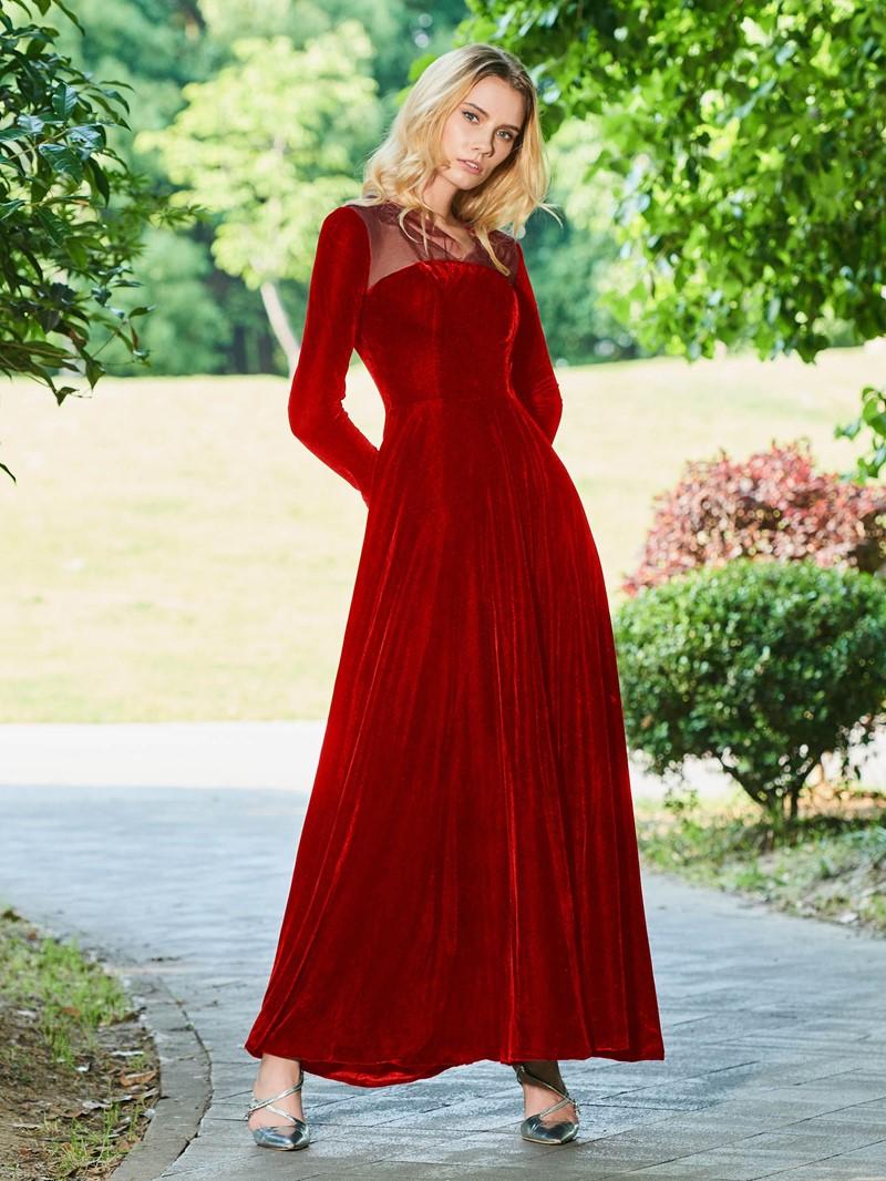 Ericdress Vintage Long Sleeve Black Evening Dress