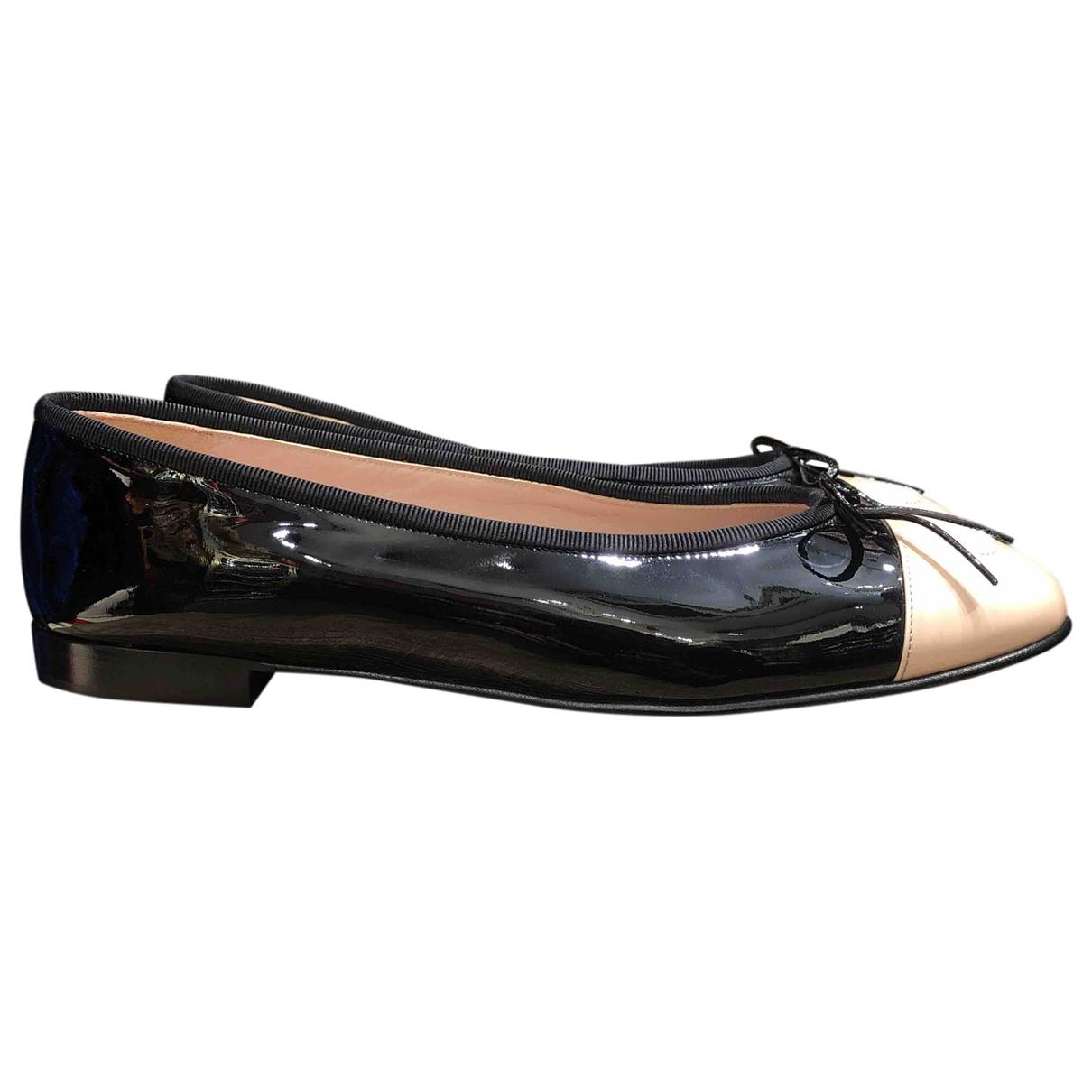 Chanel - Ballerines   pour femme en cuir verni - noir