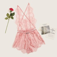 Criss-cross Backless Sheer Lace Night Romper