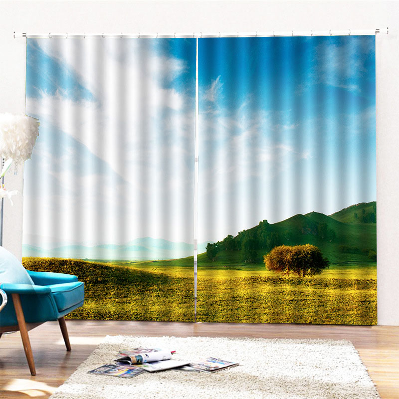Beddinginn Modern 3D Sky Decoration Curtains/Window Screens