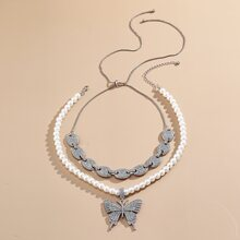 2 piezas collar con mariposa con diamante de imitacion
