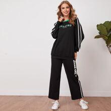 Pullover mit Kontrast, Band und Buchstaben Grafik & Hose Set