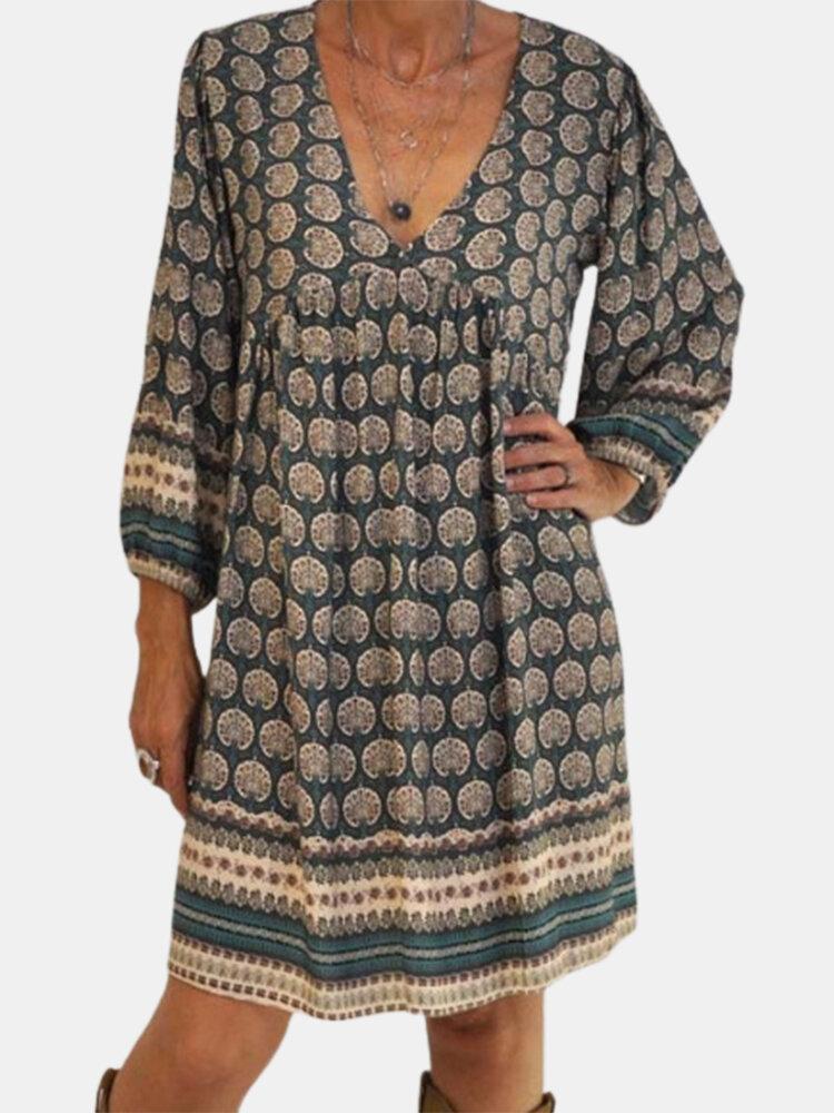 Foot Pirnt V-neck Long Sleeve Vintage Plus Size Dress