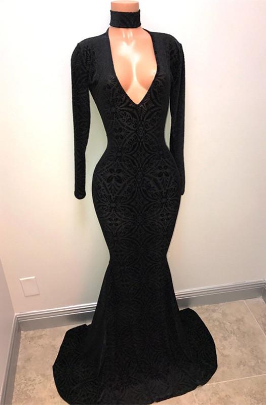 Robe de bal noire a col en V | Robe de soiree longue sirene BA8512