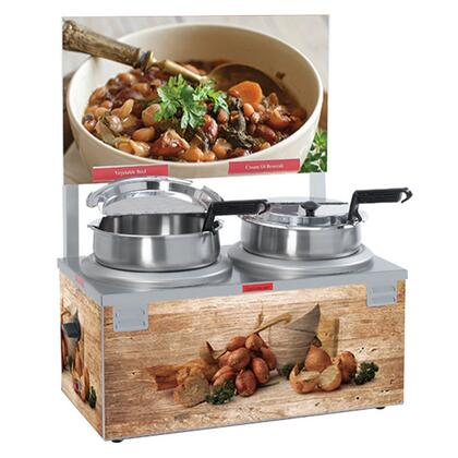 6510A-2D7 Double Well 7 Quart Soup Warmer with Header - 120V  1100W  in