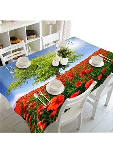 A Green Trees in the sea of Red Peonies Pastoral Style Polyester Table Cover