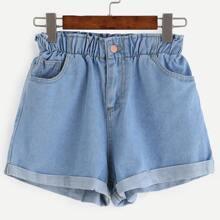 Ubergrosse Gerollte Jeans Shorts