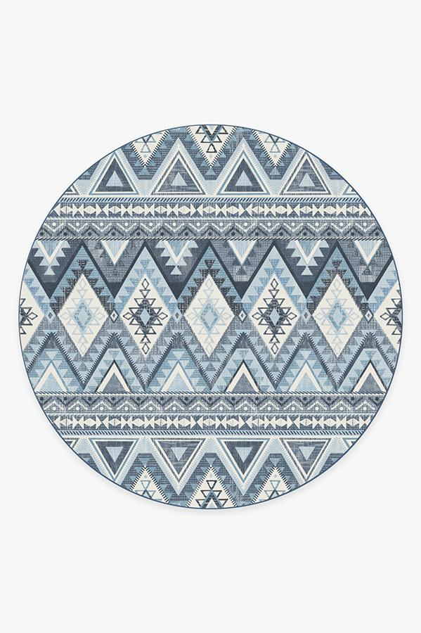 Washable Rug Cover & Pad | Pueblo Blue Rug | Stain-Resistant | Ruggable | 8' Round