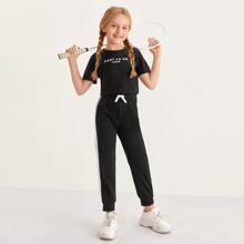 Girls Letter Graphic Top & Contrast Sideseam Sweatpants Set