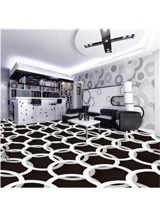 White Round Rings on Black Background Decorative Waterproof 3D Floor Murals