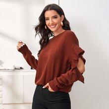 Ruffle Trim Cut-out Drop Shoulder Sweater