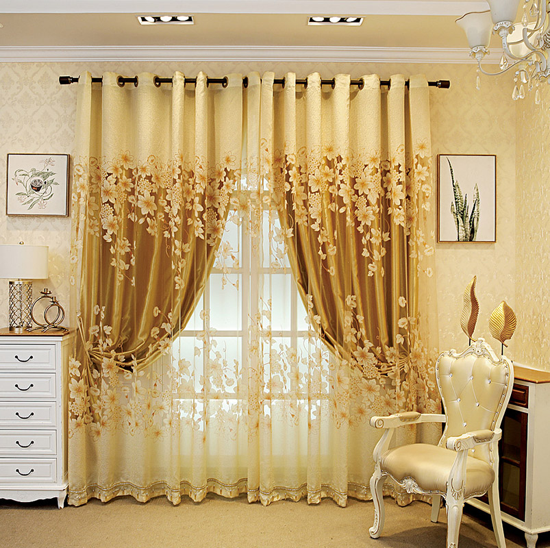 European Ventilate Living Room Sheer Curtains Environment-friendly Material Exquisite Embroidery to Show Taste and Luxury No Pilling No Fading No off-