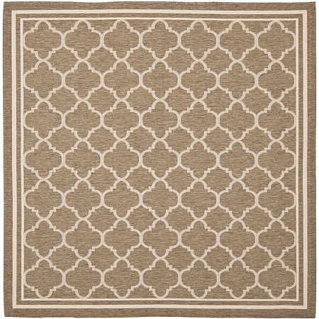 Safavieh Courtyard Collection Crispian Geometric Indoor/Outdoor Square Area Rug, One Size , Brown
