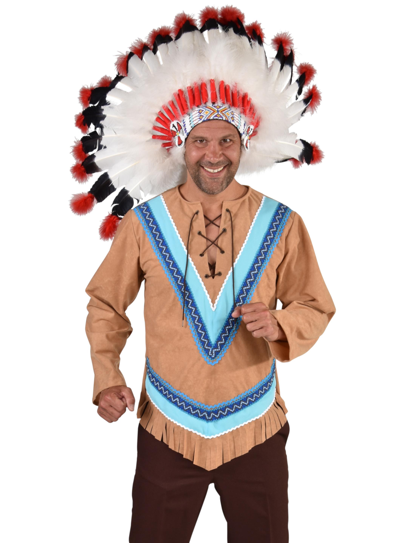 Herren-Kostuem Oberteil Indianer Herren braun L Grosse: L