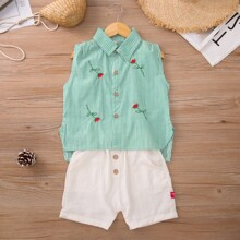 Toddler Girls Embroidery Floral Striped Blouse & Shorts