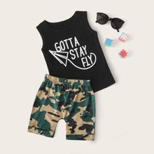 Kleinkind Jungen Tank Top mit Buchstaben Grafik und Shorts mit Camo Muster