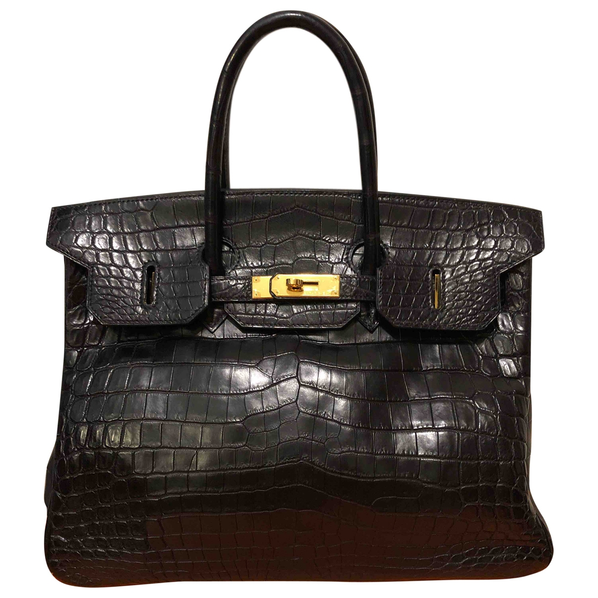 Hermes - Sac a main Birkin 35 pour femme en crocodile - noir