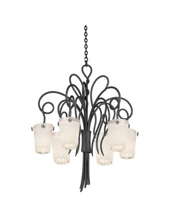 Tribecca 4289TO/FROST 6-Light Chandelier in Tortoise Shell with Small Frost Side Glass