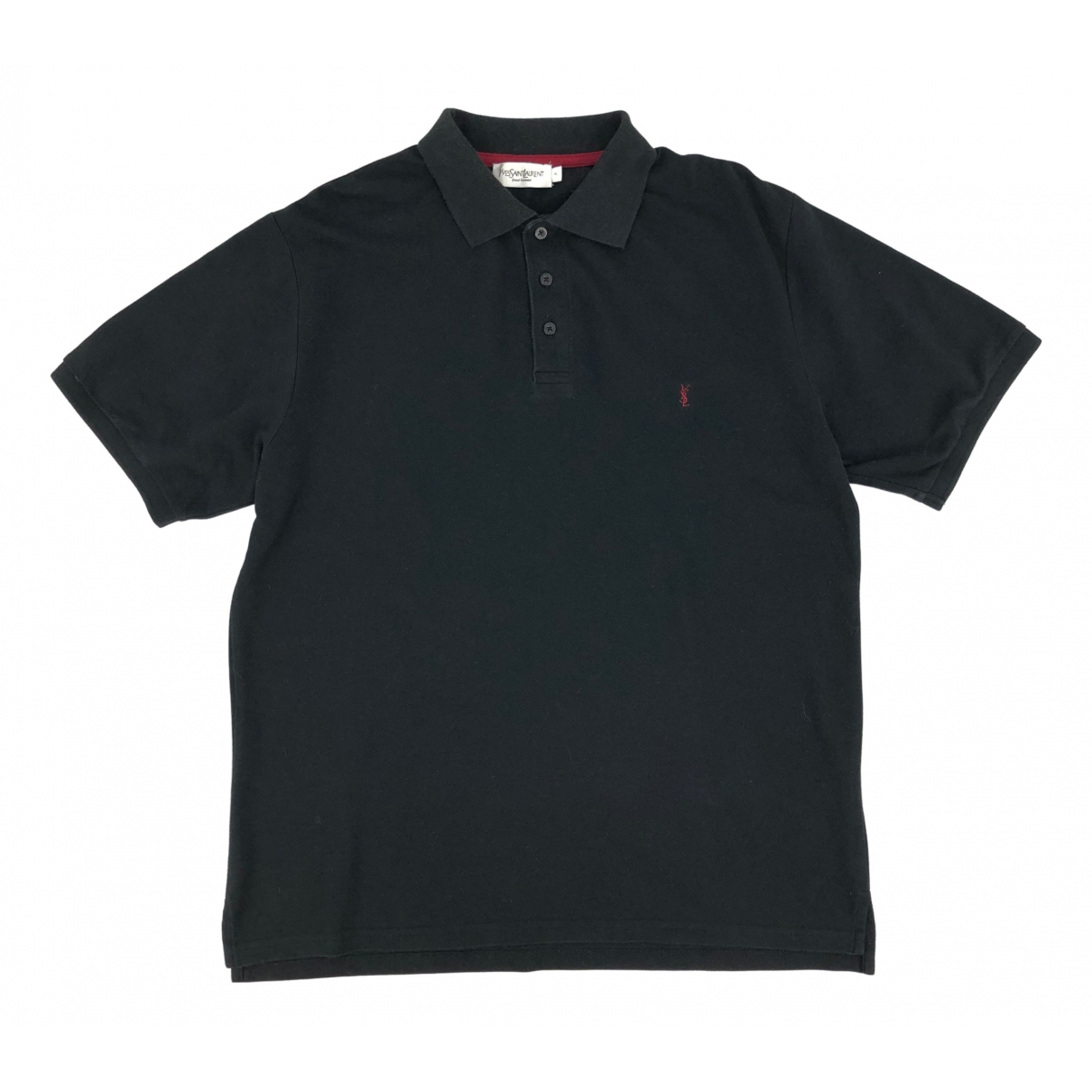 Polo en Algodon Negro Yves Saint Laurent