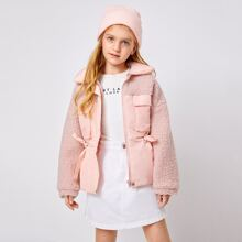 Girls Zip Up Pocket Front Drawstring Waist Teddy Panel Coat
