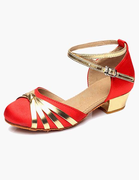 Milanoo Tobillo correa zapatos de salon de Saten