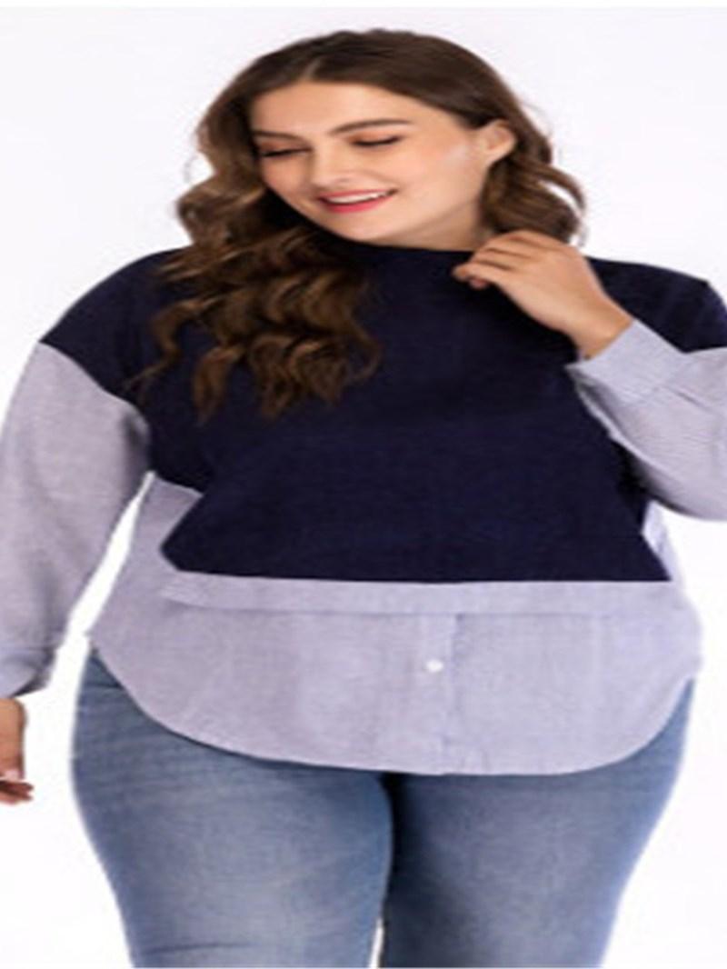 Ericdress Plus Size Stand Collar Long Sleeve Standard Fall Loose T-Shirt