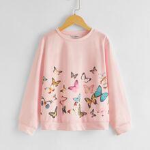 Pullover con estampado de mariposa