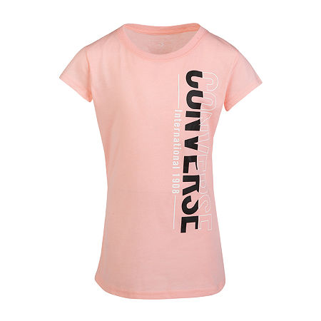 Converse Big Girls Crew Neck Short Sleeve Graphic T-Shirt, Large , Pink