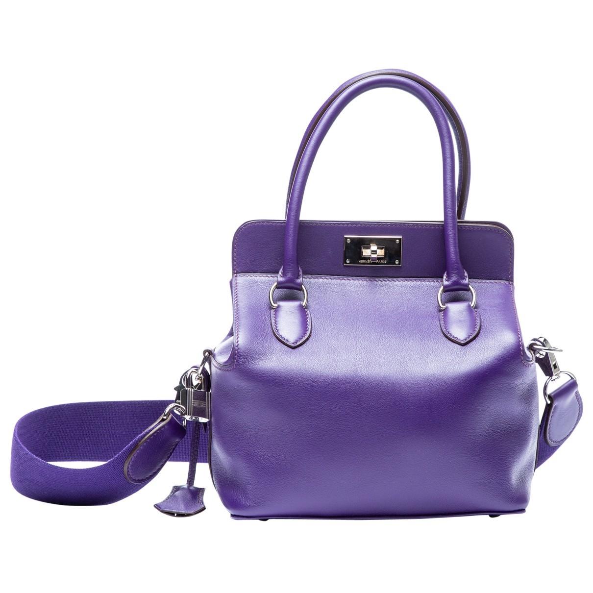 Hermes - Sac a main Toolbox pour femme en cuir - violet