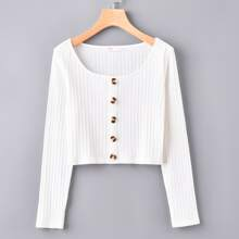 Button Front White Top