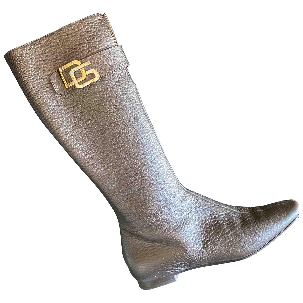 Dolce & Gabbana \N Grey Leather Boots for Women 37.5 EU