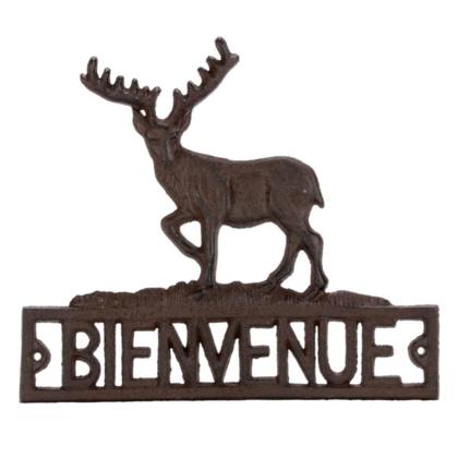 Plaque mur. chevreuil BIENVENUE en méta 9.5 x 8.5