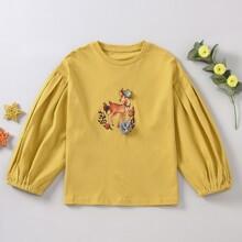 Girls Appliques Deer Print Sweatshirt
