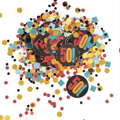 Birthday Cheer Multicolor Print 50th Birthday Confetti, 0.5oz For Birthday Party