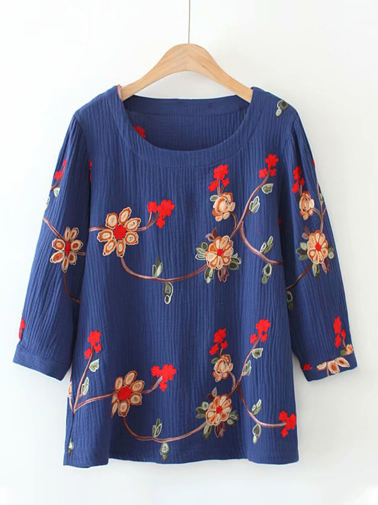 Vintage Floral Printed Half Sleeve O-Neck Blouse