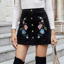 Falda con boton de pana con bordado floral