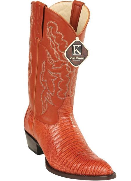 Men's King Exotic Teju Lizard Skin Print J Toe Cowboy Boots Cognac